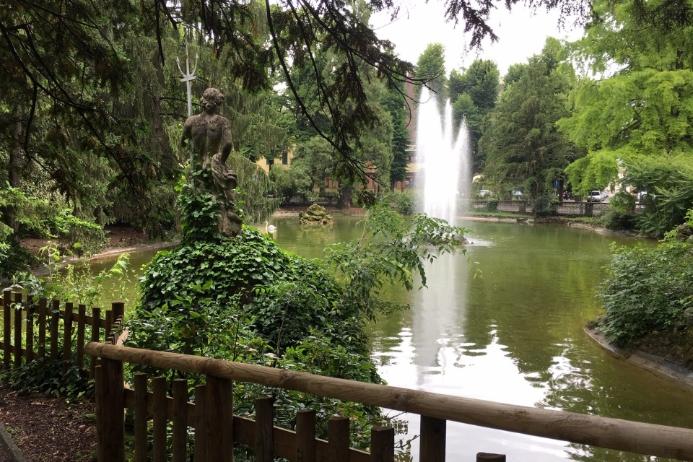Pond in Mazzini Park in Salsomaggiore Terme